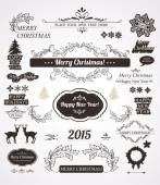 Christmas decorations set-Calligraphic and vintage labels — Stock Vector