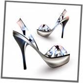 Fashion shoes with Diamond stilettos — Stock Vector