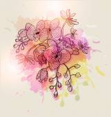 Orquídeas flores dibujadas a mano — Vector de stock