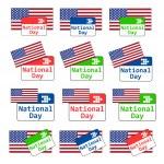 vector instellen all-purpose embleem van de nationale dag van de Verenigde Staten met kalender en — Stockvector  #75317715