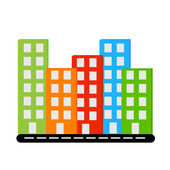 Vecor siluet different colors buildings with windows on road — Cтоковый вектор