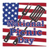 Vector for national picnic day in usa 23 april on background fla — Stock Vector
