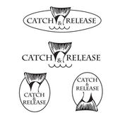 Vector design emblem fishing club with fish tail in round — Vecteur