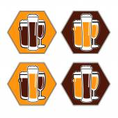 Vector set coaster with different beer glasses — Stock Vector