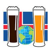 Vector beer glasses on national european flag — Stock Vector