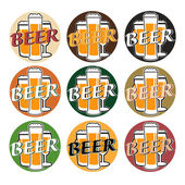 Vector set coaster with beer glasses on different background — Stock Vector