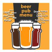 Vector design pub beer menu with typing themes sorts beers — Stockvector