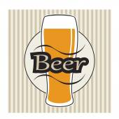 Vector beer glasse with lettering on retro background with lines — Stok Vektör
