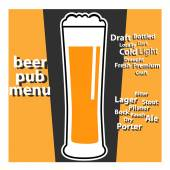 Vector design pub beer menu with typing themes about beers — Stockvector