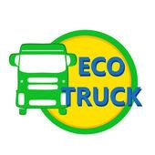 Vector illustration design eco car heavy truck in bright colors — Stock Vector