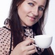 Young woman drinking tea or coffee — Stock Photo #61851397