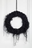 Black halloween twig wreath — Foto Stock