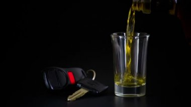 Alcoholic Drink and Car Keys — Stock Video
