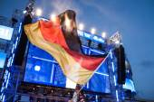 German flag at football game celebration — Stock Photo