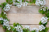 Natural wooden background with white flowers fruit tree — Stock Photo
