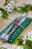 Fork and knife lying on a wooden background among the branches — Stock Photo