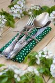 Fork, spoon and knife lying on a wooden background — Stock Photo