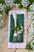 Two forks lying on a wooden background among the branches — Stock Photo