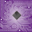 High tech electronic circuit board on purple background — Stock Vector