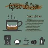 Coffee types, Espresso with Cream coffee — Stock Vector