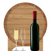 Wine bottle with glass and barrel — Stock vektor
