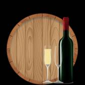 Wine bottle with glass and barrel on black  — Vecteur