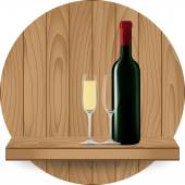 Wine bottle and glass on wood shelf — Stock Vector