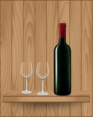 Wine bottle on wood shelf  — Vetor de Stock