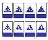 Triangle blue road signs — Stock Vector