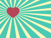 Heart shape on a Sunrays Illustration with Valentine's Day conce — Vettoriale Stock