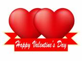 Red heart with ribbon on white background — Stock Photo