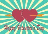 Rotes Herz mit Pfeil auf Sonnenstrahlen Illustration mit Valentinstag-D — Stockvektor
