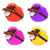 Set Heart shaped box — Stockfoto