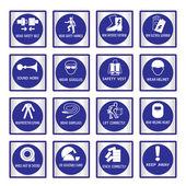 Metal mandatory signs used in industrial applications — Stock Vector