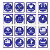 Metal mandatory signs used in industrial applications — Vecteur