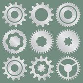 Vector collection of aluminum gear wheels — Stock Vector