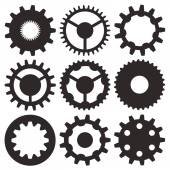 Vector collection of gear wheels — Stock Vector