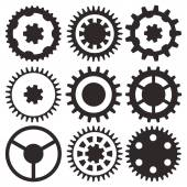 Vector collection of gear wheels — Stock Vector