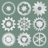 Vector collection of aluminum gear wheels — Stock Photo
