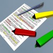 Multicolor pen markers and pen laying on a document — Stock Photo #71349643