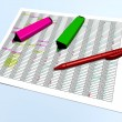 Pink and green pen markers and a red pen on a control grid — Stock Photo #71808277