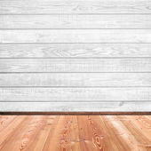 Wooden plank wall and floor interior background — Stock Photo