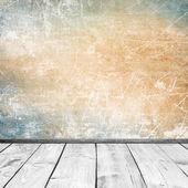 Grunge zdi a dřevěné podlahy — Stock fotografie