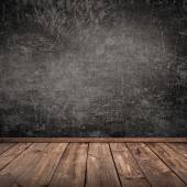 Concrete wall and wooden floor — Stock Photo