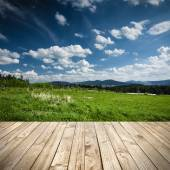 Wood terrace and perspective view on meadow field or green hill — Stock Photo