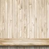 Wood table and bright wooden wall  — Stock Photo