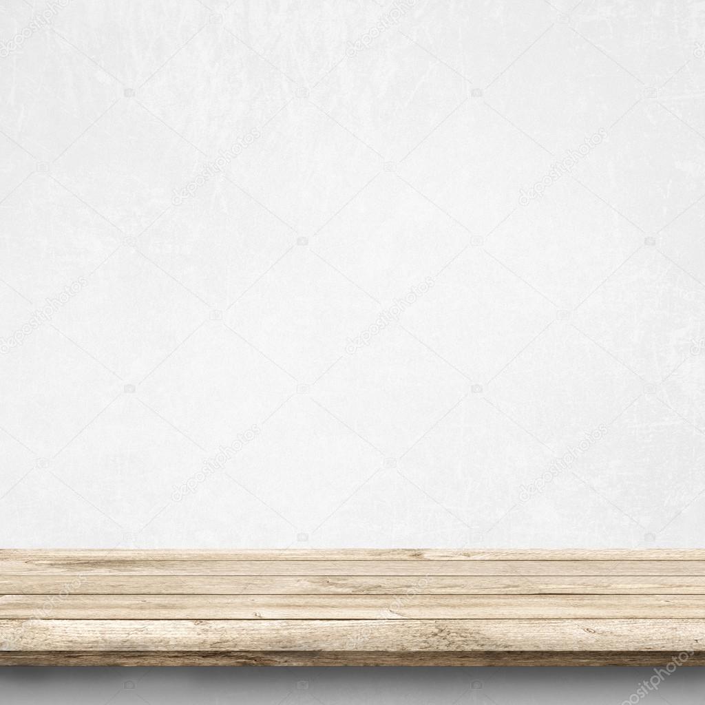 나무 테이블과 흰색 콘크리트 벽 — 스톡 사진 © zajac #63527319