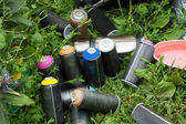 Colorful cans of paint on grass — Stock Photo