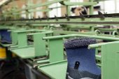 Manufacture of demi-season boots on rubber soles — Stock Photo
