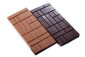 Two chocolate bars with indication of calories — Stock Photo